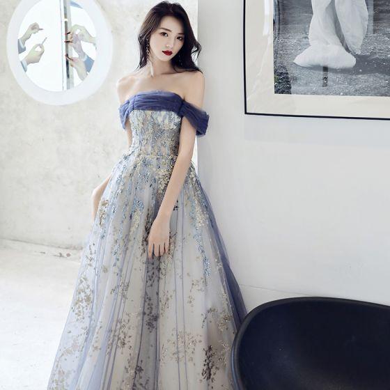 Eleganckie Ciemnoniebieski Sukienki Wieczorowe 2021 Princessa Przy Ramieniu Frezowanie Cekiny Bez Rękawów Bez Pleców Długie Sukienki Wizytowe