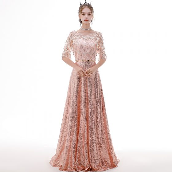 Affordable Rose Gold See-through Evening Dresses  2020 A-Line / Princess Scoop Neck 1/2 Sleeves Metal Sash Sequins Tassel Floor-Length / Long Ruffle Formal Dresses