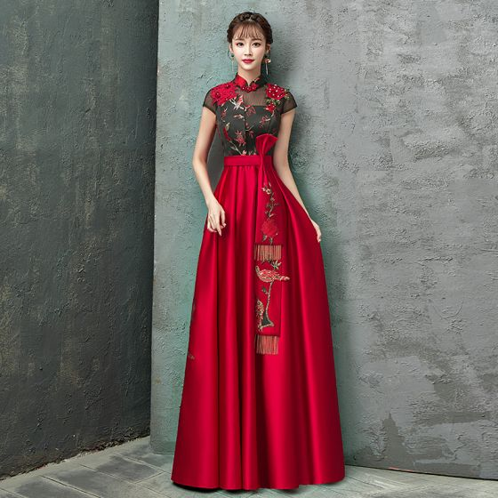 Chinese style Red Evening Dresses  2020 A-Line / Princess High Neck Rhinestone Lace Flower Bow Cap Sleeves Backless Floor-Length / Long Formal Dresses