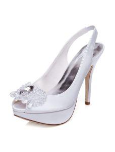 Klassische Hochzeitsschuhe Peep Toe Stöckelschuhe High Heels Brautschuhe Sling Pumps