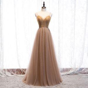 Mode Champagner Abendkleider 2020 A Linie Rundhalsausschnitt Perlenstickerei Kristall Strass Ärmellos Rückenfreies Lange Festliche Kleider