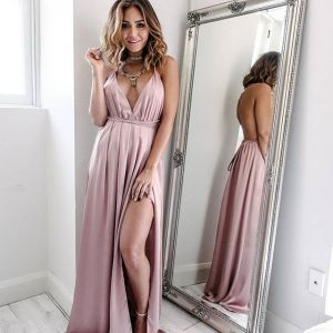 Chic / Beautiful Blushing Pink Honeymoon Maxi Dresses 2019 A-Line / Princess Plunging Cross-Back Spaghetti Straps Backless Sleeveless Split Front Floor-Length / Long Womens Clothing