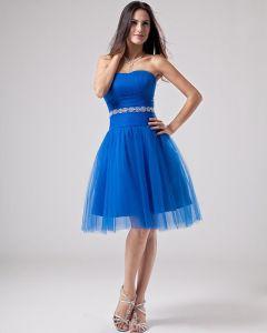 A-line Strapless Mini Short Satin Tulle Graduation Dresses