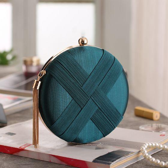 Modest / Simple Dark Green Clutch Bags 2020 Metal Tassel Evening Party Accessories