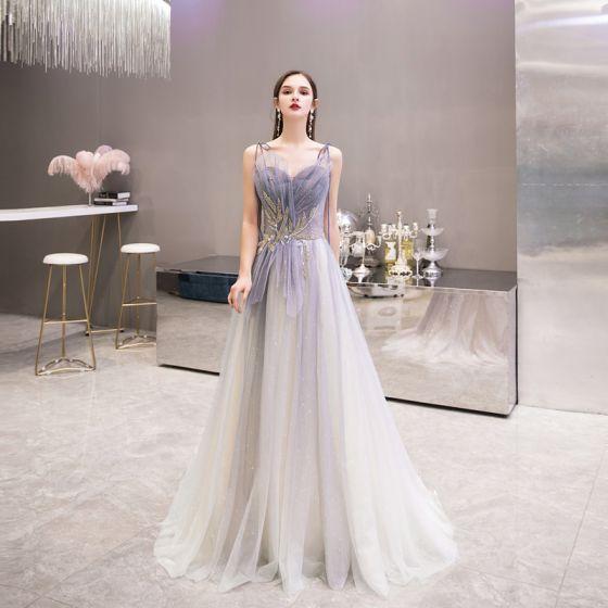 Elegant Purple Gradient-Color Evening Dresses  2020 A-Line / Princess Spaghetti Straps Sleeveless Beading Pearl Glitter Tulle Sweep Train Ruffle Backless Formal Dresses
