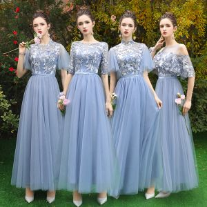 Discount Sky Blue See-through Bridesmaid Dresses 2019 A-Line / Princess Appliques Lace Floor-Length / Long Ruffle Backless Wedding Party Dresses