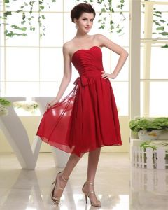 Sweetheart Bowknot Belt Zipper Sleeveless Knee Length Pleated Chiffon Woman Bridesmaid Dresses