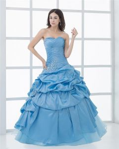 Ball Gown Sleeveless Yarn Embroidery Ruffles Applique Sweetheart Floor Length Quinceanera Prom Dresses