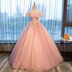 Elegant Pearl Pink See-through Prom Dresses 2019 A-Line / Princess Off-The-Shoulder Short Sleeve Appliques Flower Rhinestone Pearl Floor-Length / Long Ruffle Backless Formal Dresses