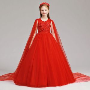 Chinese style Red Flower Girl Dresses 2019 A-Line / Princess Scoop Neck Sleeveless Sash Appliques Lace Pearl Watteau Train Ruffle Wedding Party Dresses