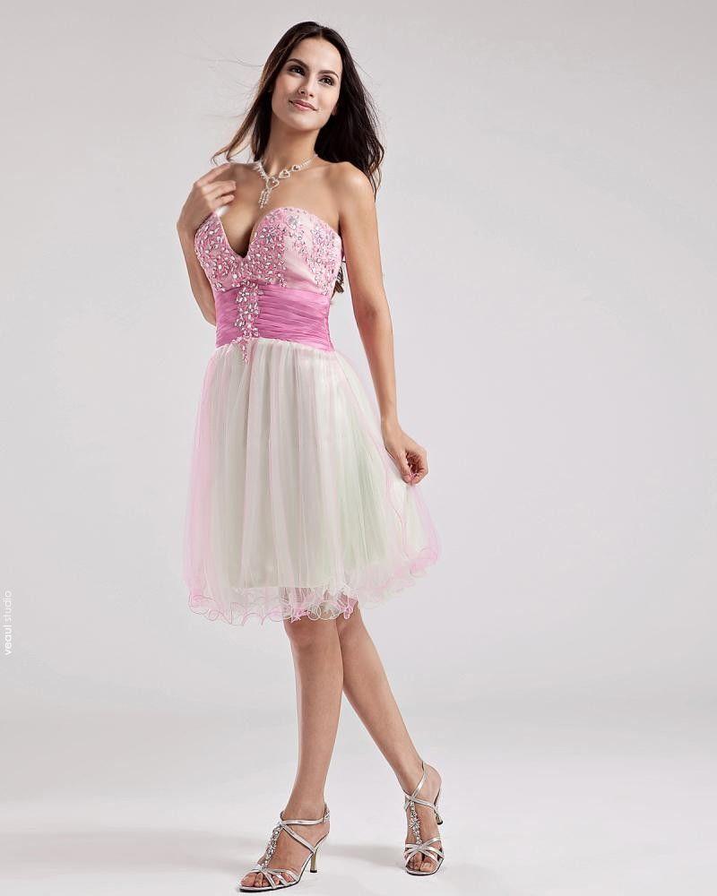 A-Line Strapless Short Mini Satin Cocktail Dress