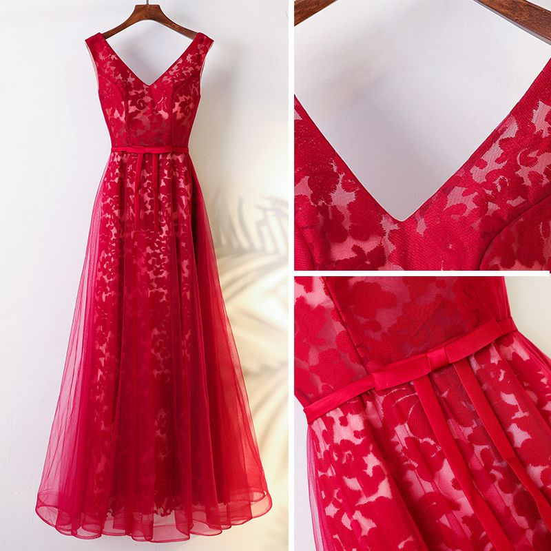Chic / Beautiful Red Chinese style Evening Dresses  2017 A-Line / Princess V-Neck Sleeveless Crossed Straps Strappy Lace Tulle Floor-Length / Long Evening Party