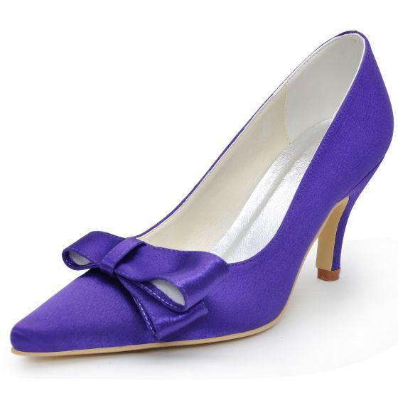 Grado Zapatos Lazo De Satén Zapatos De Fiesta De Bodas Las Mujeres Señalaron