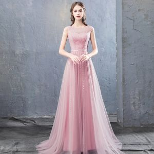 Modest / Simple Candy Pink Evening Dresses  2018 A-Line / Princess Beading Sequins Scoop Neck Sleeveless Sweep Train Formal Dresses
