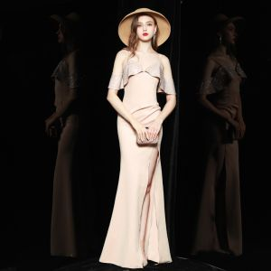 Chic / Beautiful Beige Holiday Evening Dresses  2020 Trumpet / Mermaid Spaghetti Straps Short Sleeve Rhinestone Split Front Floor-Length / Long Backless Formal Dresses