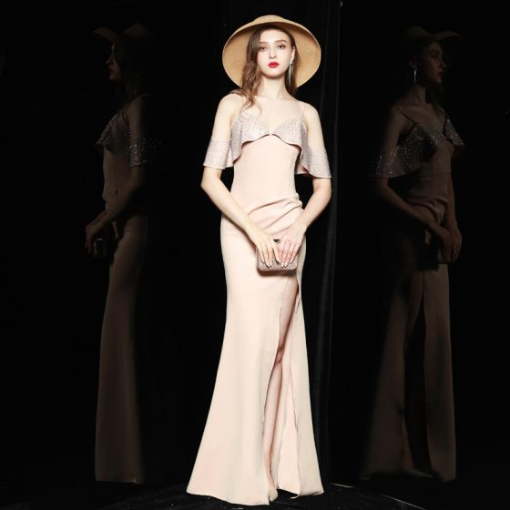 Chic / Beautiful Beige Holiday Evening Dresses  2020 Trumpet / Mermaid Spaghetti Straps Short Sleeve Rhinestone Split Front Floor-Length / Long Backless Formal Dresses