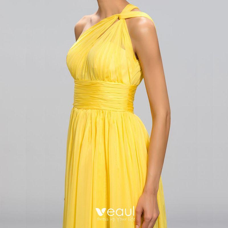 elegante klassisch charmant gelb empire abendkleider 2020