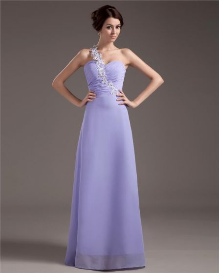 One Shoulder Chiffon Pleated Floor Length Plus Size Evening Party Dresses