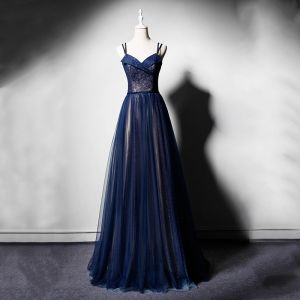 Elegant Navy Blue Evening Dresses  2019 A-Line / Princess Spaghetti Straps Sleeveless Sash Glitter Tulle Floor-Length / Long Ruffle Backless Formal Dresses