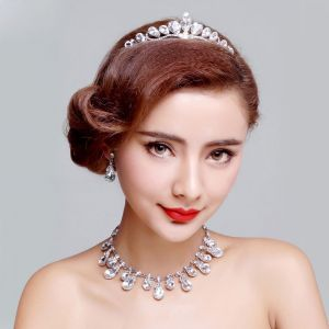 Fashion Bridal Jewellery Rhinestone Tiara / Earrings / Necklace Three-piece