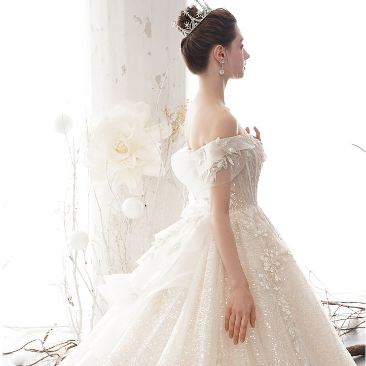 Sparkly Champagne Wedding Dresses 2020 Ball Gown Off-The-Shoulder Short Sleeve Backless Glitter Sequins Tulle Appliques Lace Beading Cathedral Train Ruffle