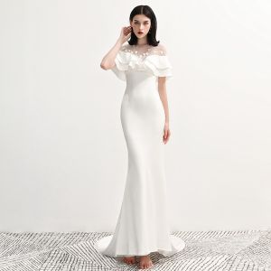 Fashion White Chiffon See-through Evening Dresses  2020 Trumpet / Mermaid Scoop Neck Short Sleeve Appliques Lace Court Train Ruffle Backless Formal Dresses