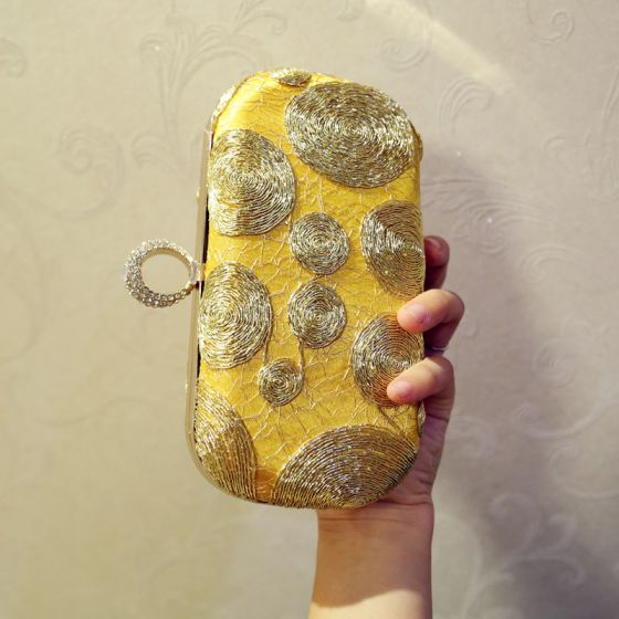 Chic / Beautiful 2017 Gold Silver Leaf PU Beach Outdoor / Garden Clutch Bags