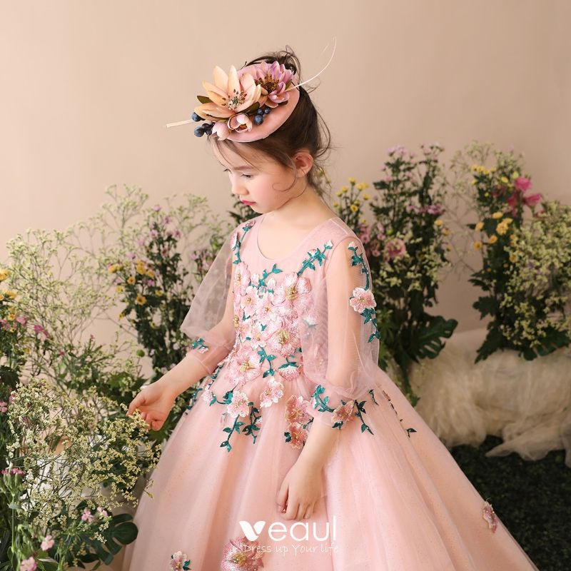 Chic / Beautiful Church Wedding Party Dresses 2017 Flower Girl Dresses Pearl Pink Glitter Ball Gown Floor-Length / Long Scoop Neck 3/4 Sleeve Flower Appliques Pearl Rhinestone