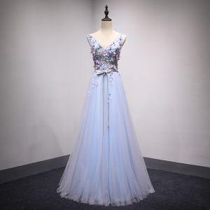 Chic / Beautiful Sky Blue Evening Dresses  2018 A-Line / Princess V-Neck Sleeveless Appliques Flower Sash Floor-Length / Long Ruffle Backless Formal Dresses