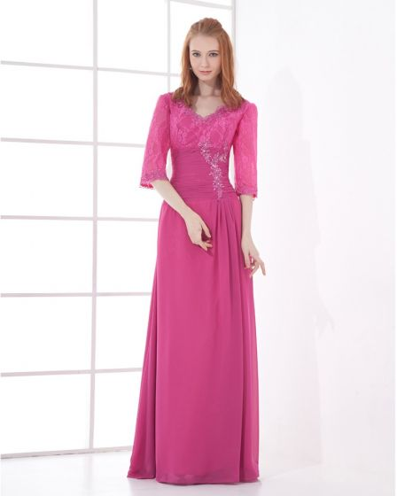 Chiffon V Neck 3/4-Length Sleeve Embroidery Floor Length Mother of the Bride Dress