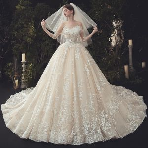 Luxury / Gorgeous Ivory Beading Wedding Dresses 2020 Ball Gown Scoop Neck Lace Flower Appliques Pearl Sequins 3/4 Sleeve Backless Cathedral Train