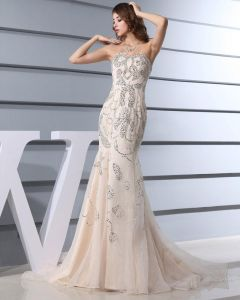 Bodenlange Trägerlosen Ausschnitt Ärmellose Organza Frau Promi-kleider