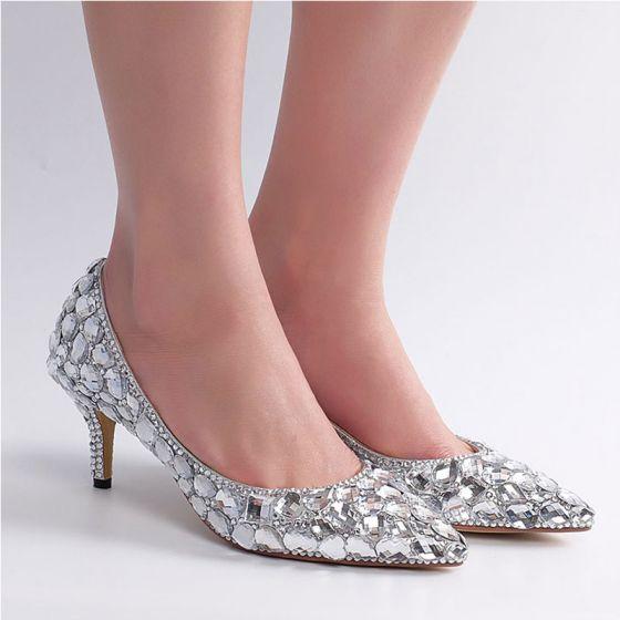 Mooie / Prachtige Zilveren Rhinestone Bruidsschoenen 2020 Leer 6 cm Naaldhakken / Stiletto Spitse Neus Huwelijk Pumps