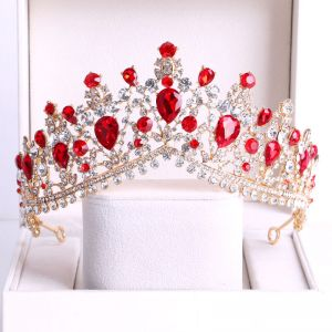 Chic / Beautiful Red Rhinestone Bridal Hair Accessories 2020 Gold Metal Tiara Wedding Accessories