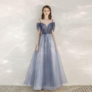 Elegante Himmelblau Abendkleider 2020 A Linie Spaghettiträger Kurze Ärmel Glanz Tülle Stoffgürtel Lange Rüschen Rückenfreies Festliche Kleider