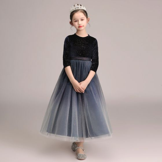 Starry Sky Navy Blue Gradient-Color Suede Winter Flower Girl Dresses 2020 A-Line / Princess Scoop Neck 3/4 Sleeve Sash Glitter Tulle Ankle Length Ruffle