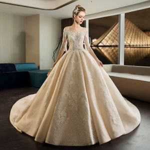 Luxury / Gorgeous Champagne See-through Wedding Dresses 2019 Ball Gown Scoop Neck 1/2 Sleeves Backless Appliques Lace Beading Tassel Pearl Cathedral Train