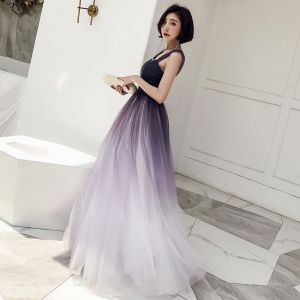 Chic / Beautiful Grape Gradient-Color Prom Dresses 2018 A-Line / Princess Square Neckline Sleeveless Backless Floor-Length / Long Formal Dresses