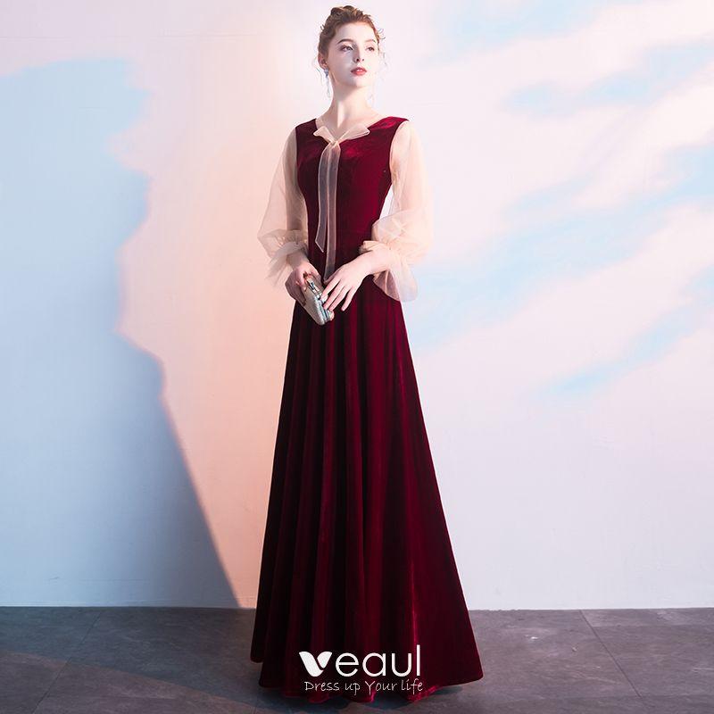 da2feb03ee2e Snygga / Fina Burgundy Aftonklänningar 2019 Prinsessa V-Hals Långärmad  Långa Formella Klänningar