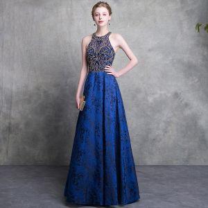 Luxe Bleu Roi Dentelle Robe De Soirée 2018 Princesse Encolure Dégagée Bustier Sans Manches Perlage Longue Dos Nu Robe De Ceremonie