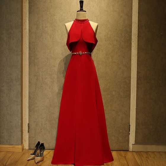 Modest / Simple Red Evening Dresses  2018 Empire Beading Scoop Neck Strapless Sleeveless Metal Sash Floor-Length / Long Formal Dresses