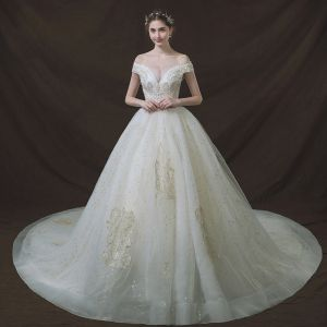 Bling Bling Ivory Wedding Dresses 2018 Ball Gown Off-The-Shoulder See-through V-Neck Short Sleeve Backless Glitter Star Appliques Lace Pearl Beading Cathedral Train Ruffle