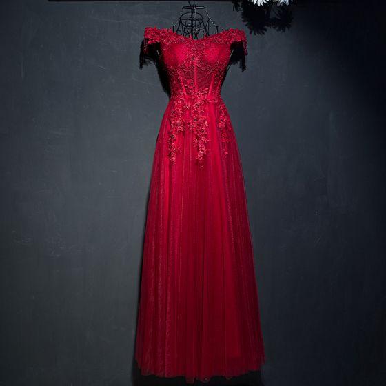 Piękne Czerwone Sukienki Wizytowe 2017 Koronkowe Kwiat Cekiny Perła Przy Ramieniu Bez Rękawów Długość Kostki Imperium Sukienki Wieczorowe