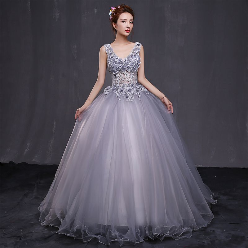 Chic / Beautiful Prom Formal Dresses 2017 Prom Dresses Grey Ball Gown Floor-Length / Long V-Neck Backless Sleeveless Appliques Flower Pearl