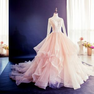 Elegant Champagne Puffy Wedding Dresses 2018 Ball Gown Lace Flower Cascading Ruffles Scoop Neck Long Sleeve Royal Train Wedding