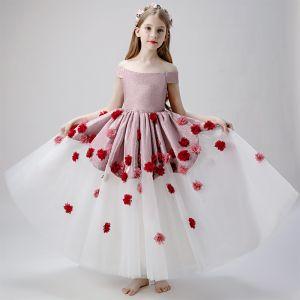 Blumenfee Rosa Weiß Blumenmädchenkleider 2019 Ballkleid Off Shoulder Kurze Ärmel Glanz Polyester Applikationen Blumen Lange Rüschen Rückenfreies Kleider Für Hochzeit