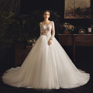 Illusion Ivory See-through Wedding Dresses 2019 A-Line / Princess Square Neckline Long Sleeve Backless Appliques Lace Chapel Train Ruffle