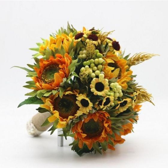 Klassisch Elegante Multifarben Brautstrauß Künstliche Blumen Hochzeit Blumen 2019