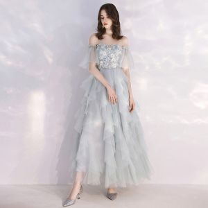 Affordable Grey Sky Blue Evening Dresses  2019 A-Line / Princess Off-The-Shoulder Bell sleeves Appliques Lace Pearl Ankle Length Cascading Ruffles Formal Dresses
