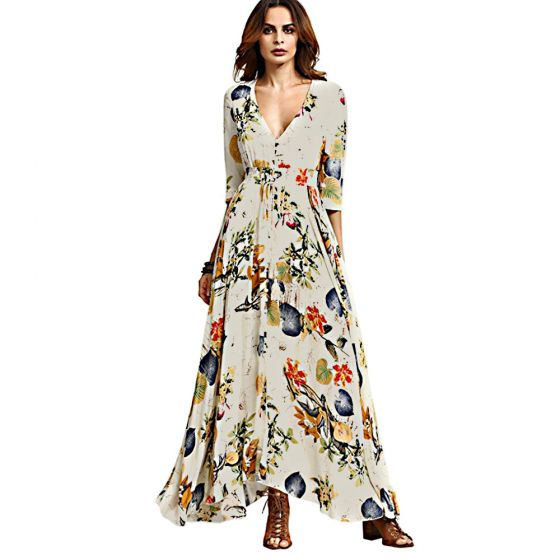 Bohemia Beige Summer Maxi Dresses 2018 Empire V-Neck 3/4 Sleeve Printing Flower Ankle Length Womens Clothing